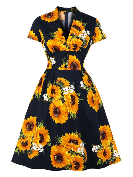 Milanoo Vestido vintage Vestido de Rockabilly con estampado floral y mangas cortas con cuello en V de los años 50
