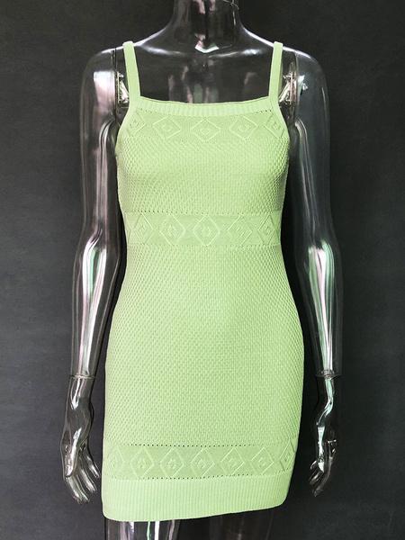 Milanoo Purple Bodycon Dresses Women Straps Neck Sleeveless Slim Fit Knit Dress