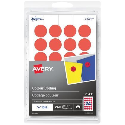 Avery® Laser/Jet d'encre amovible Étiquettes à codage couleur-Nouvel-Rouge