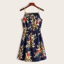 Vestido de tirante con estampado floral con cordon delantero con perlas