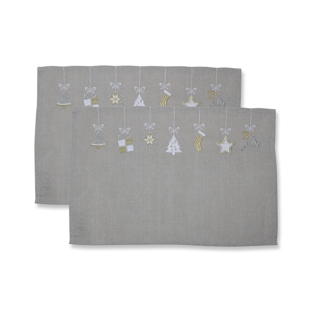 Hanging Christmas Ornaments Placemat Grey/White (Set of 2) - Grey - 12 X 18.5 X 0.1 (Grey - 12 X 18.5 X 0.1)