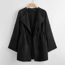 Plus Solid Drawstring Waist Trench Coat