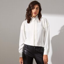Frill Mock Neck Pleated Detail Blouse