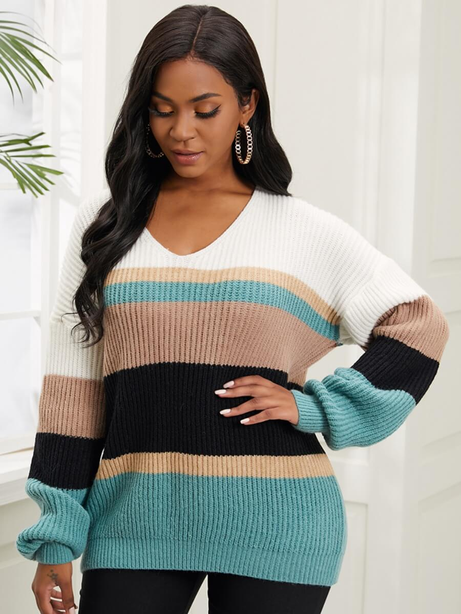 LW Lovely Trendy V Neck Dropped Shoulder Striped Stitching Green Sweater