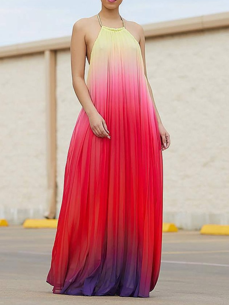 Ericdress Sleeveless Floor-Length Backless A-Line Gradient Dress