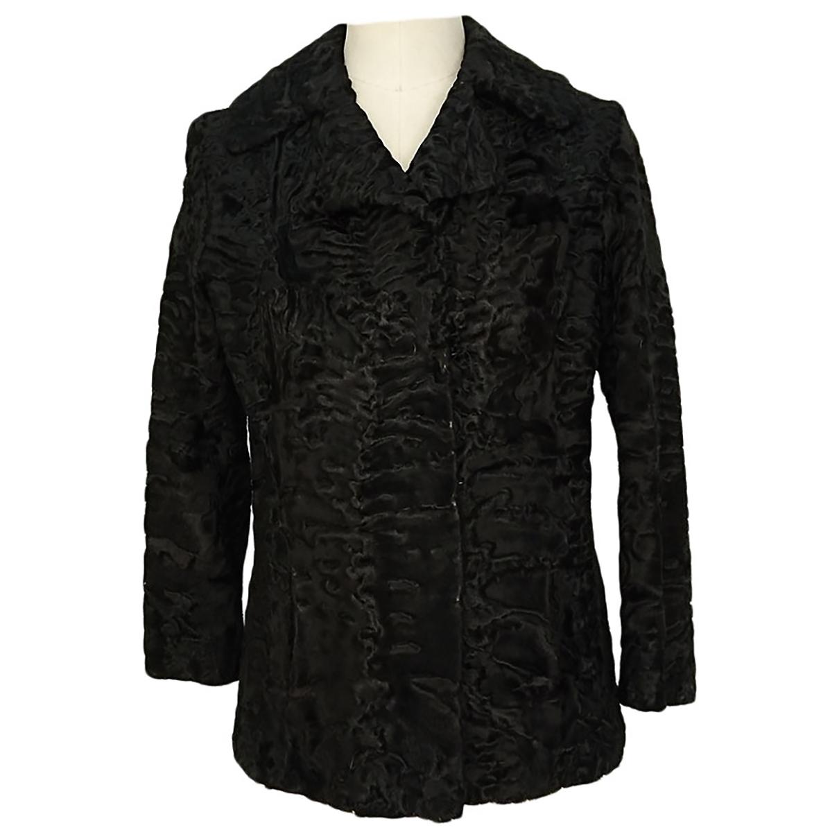 - Veste   pour femme en astrakan - noir