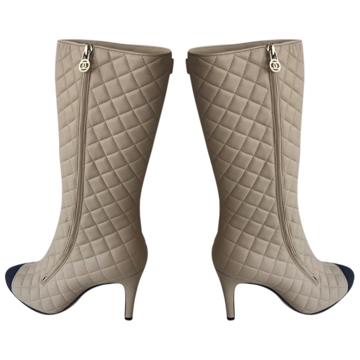 Chanel - Bottes   pour femme en cuir - beige