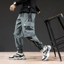 Guys Slogan Graphic Side Flap Pocket Cargo Pants