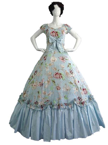 Milanoo Disfraz Halloween Rococo Retro Disfraces Mujer Estampado floral Marie Antonieta Disfraz Vestido Vintage Disfraz del siglo XVIII Carnaval Hallo