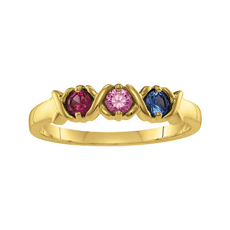 Personalized Xs and Os Birthstone Ring, 5 1/2 , Yellow