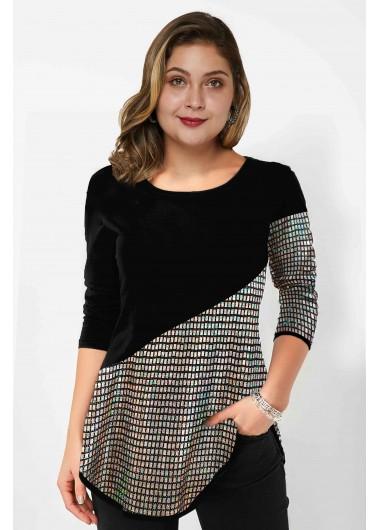 Sequin Panel Long Sleeve Plus Size T Shirt - 1X
