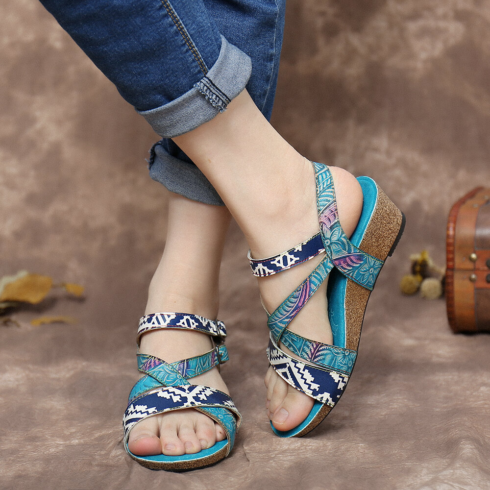 SOCOFY Leather Floral Dual Elastic Buckle Ankle Strap Stitching Wedge Sandals