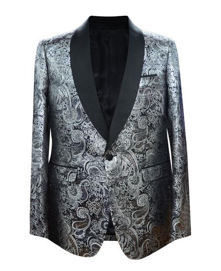 Cheap Mens Printed Flower Jacket Prom modern Tux Silver