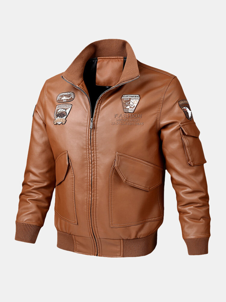 Mens MA-1 PU Leather Embroidered Stand Collar Ribbed Hem Jacket With Badges