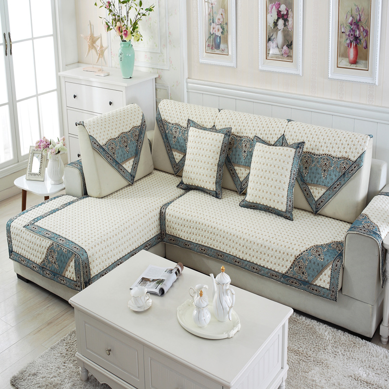 White and Blue Cotton Modern Design Quilting Cushion Slip Resistant Sofa Covers
