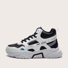 Guys Lace-up Front Letter Graphic Chunky Sneakers