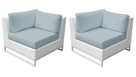Miami TKC047b-CS-DB-SPA Set of 2 Corner Chairs - Sail White and Spa