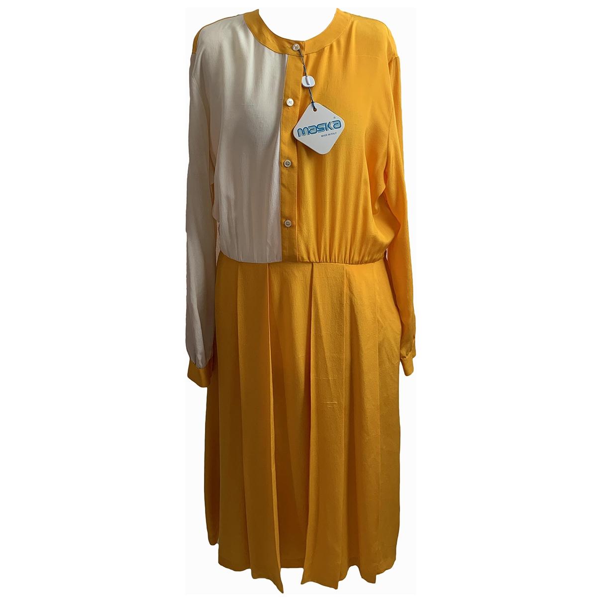 - Robe   pour femme en soie - jaune