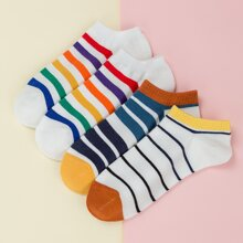 4pairs Striped Pattern Ankle Socks
