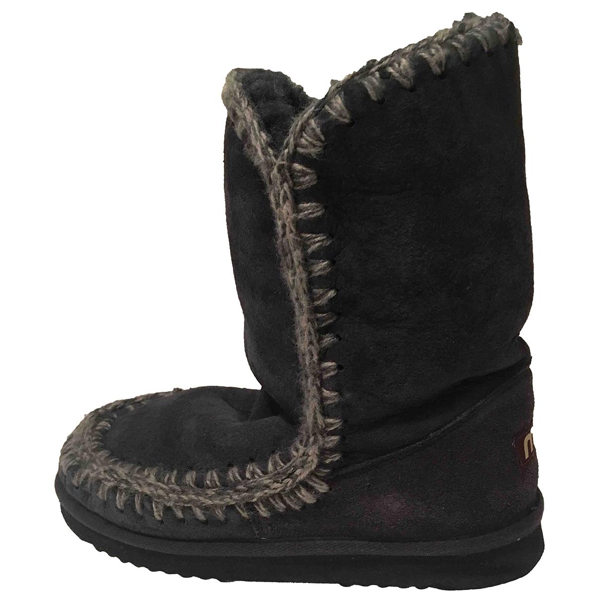 Mou - Boots   pour femme en mouton - bleu