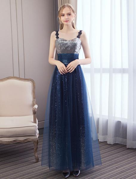 Milanoo Prom Dresses Long Dark Navysequin Tulle Straps Maxi Formal Evening Dress