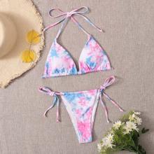 Dreieckiger Bikini Badeanzug mit Batik und seitlichem Band