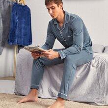 Schlafanzug Set mit Kontrast Bindung