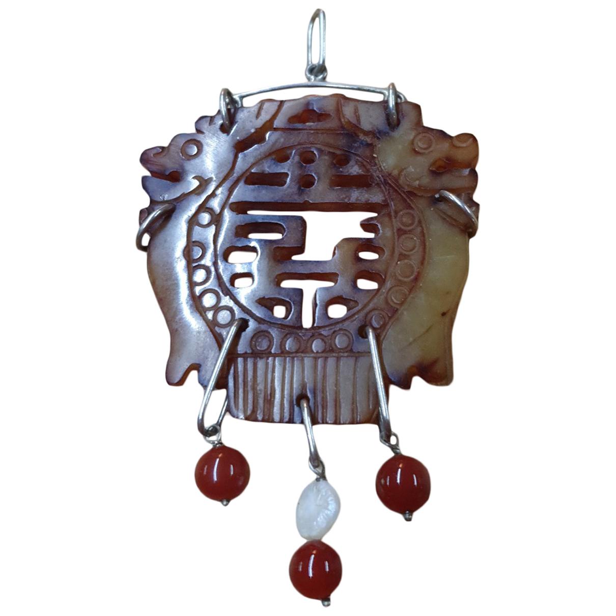 Non Signe / Unsigned Camee Anhaenger in  Braun Jade