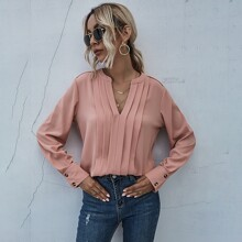 Solid Buttoned Cuff Notched Neck Blouse