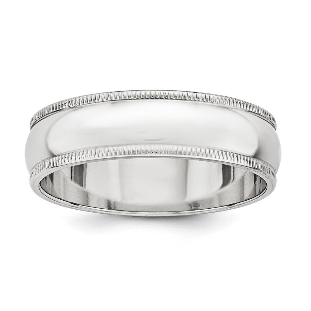 Sterling Silver 6mm Half Round Milgrain Band - White by Versil (9)