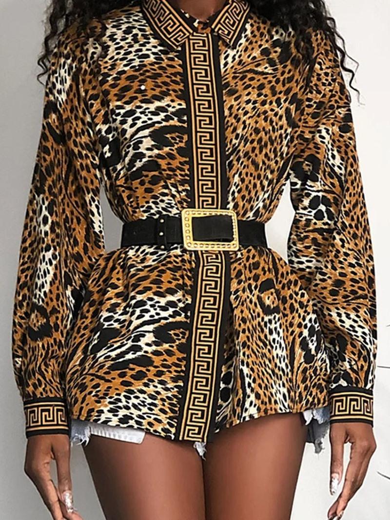 Ericdress Print Lapel Leopard Mid-Length Long Sleeve Blouse