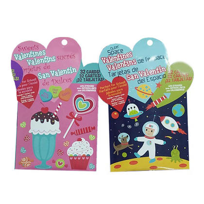 Cute Cartoon Valentines Cards & Stickers, 36 Pack, Random Style