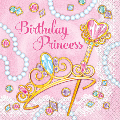 Pink Princess Luncheon Napkins, 16ct Pour la fête d'anniversaire