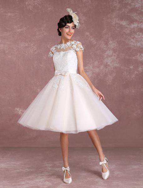 Milanoo Vintage Wedding Dresses Short Lace Applique Bridal Gown Illusion Bow Sash Bridal Dress