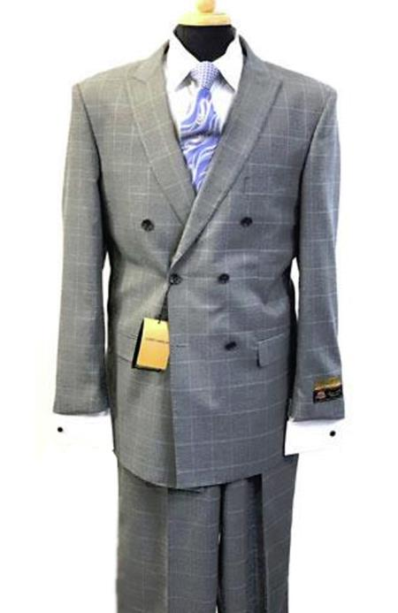 Alberto Nardoni Breasted Glen Plaid Wool Window Pane Pattern Suit