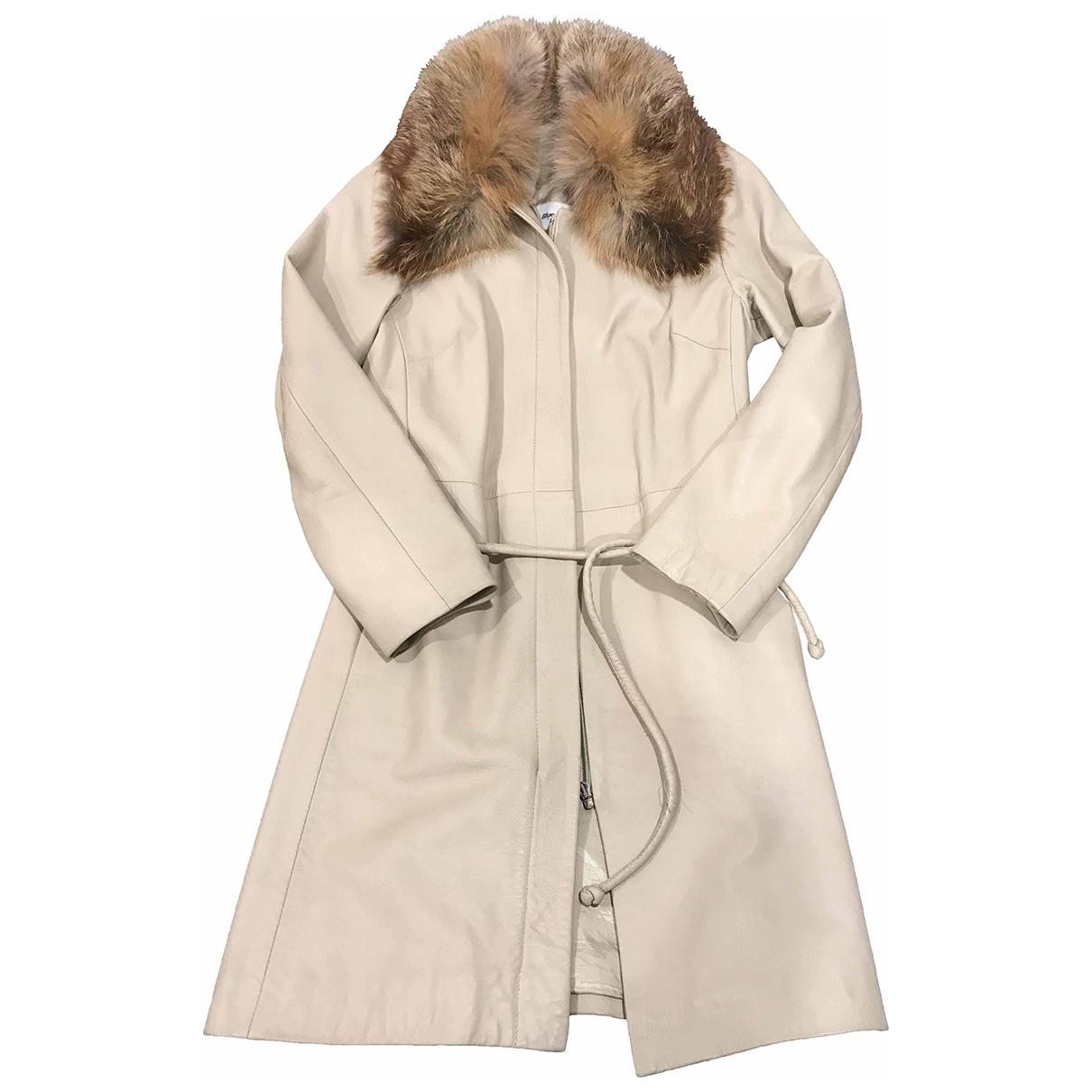 - Manteau   pour femme en cuir - beige