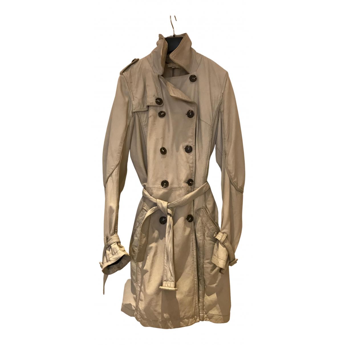 Essentiel Antwerp N Ecru Leather Trench coat for Women 38 FR