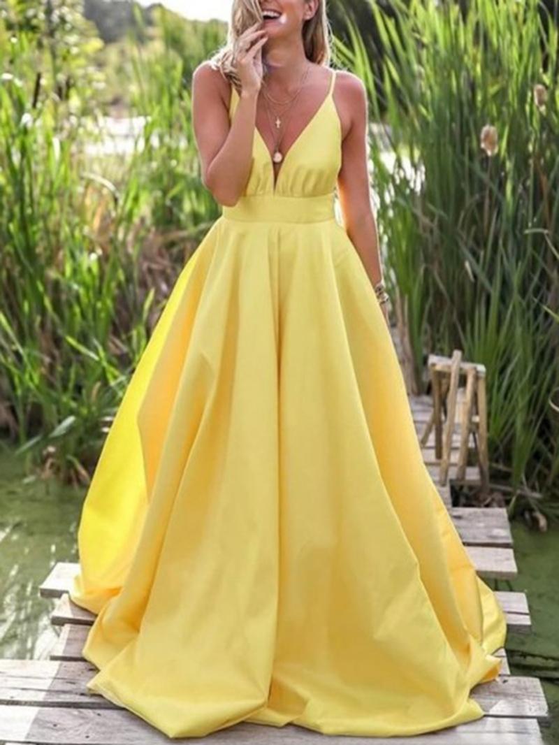 Ericdress Spaghetti Straps Sleeveless A-Line Floor-Length Prom Dress 2020