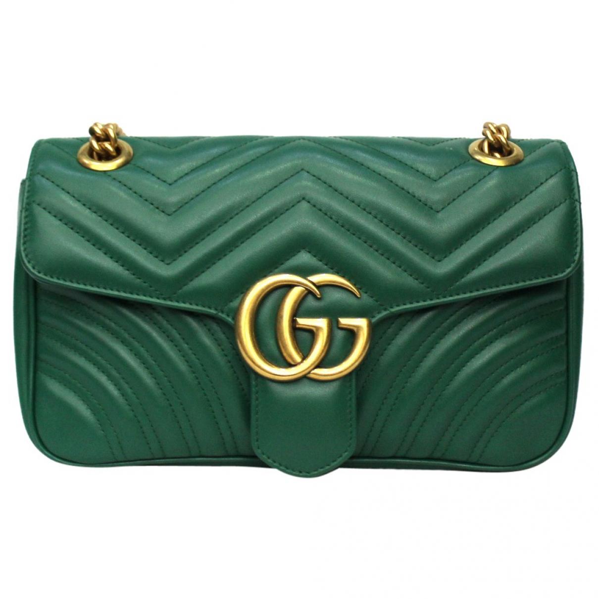 Gucci - Sac a main Marmont pour femme en cuir - vert