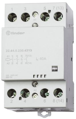 Finder , 24 V ac, 24 V dc Coil Non-Latching Relay DPDT, 40A Switching Current DIN Rail, 4 Pole