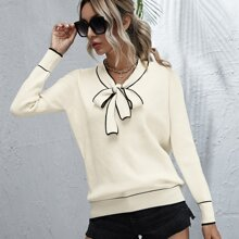 Tie Neck Contrast Piping Sweater