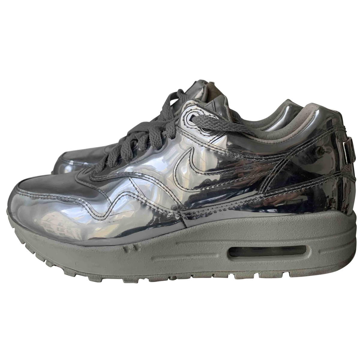Nike Air Max 1 Silver Leather Trainers for Women 36.5 EU