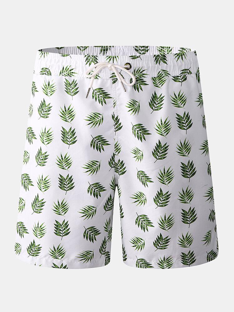 Men Leaves Print Mid Waist Mesh Liner Beach Board Shorts With Pocket