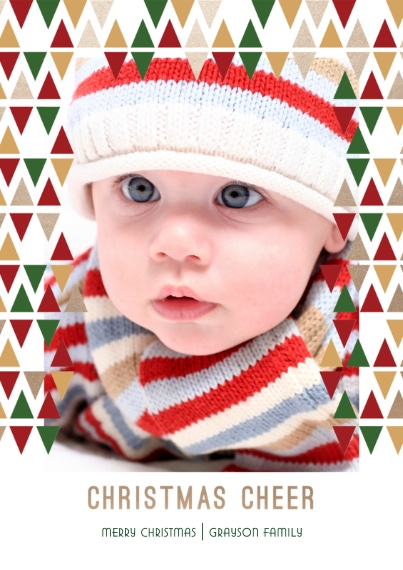 Christmas Photo Cards Flat Glossy Photo Paper Cards with Envelopes, 5x7, Card & Stationery -Golden Christmas Cheer