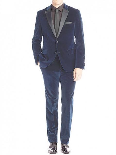 Mens Velvet Blue Tuxedo Suit