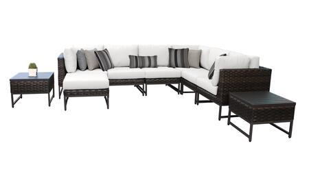 Barcelona BARCELONA-09b-BRN-WHITE 9-Piece Patio Set 9b with 3 Corner Chairs  3 Armless Chairs  1 Ottoman and 1 End Table - Beige and Sail White