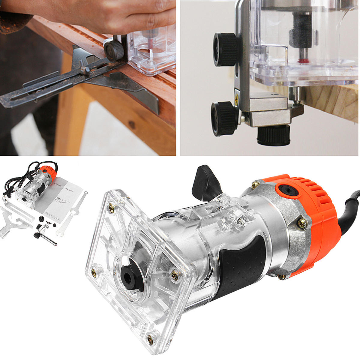 1200W 220V 6.35mm 1/4 Electric Hand Trimmer Wood Laminate Palm Router Joiner Tool