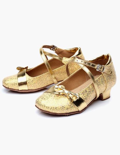 Milanoo El baile de fiesta calza los zapatos redondos del partido de Criss del arco del dedo del pie redondo para los niños