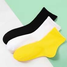 3pairs Solid Cuffed Socks