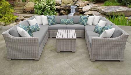 Coast Collection COAST-11a-GREY 11-Piece Patio Set 11a with 2 Corner Chair   6 Armless Chair   1 Storage Coffee Table   1 Left Arm Chair   1 Right